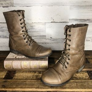 Steve Madden leather distressed tan combat boots
